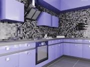 Moderne hellblaue Einbauküche in L-Form