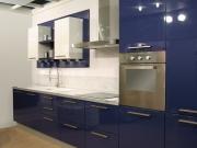 Einzeilige Edelstahlküche mit blauen Fronten