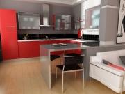 Edelstahlküche  mit roten Fronten und Küchenhalbinsel