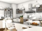 Offene Edelstahlwohnküche mit weißen Fronten
