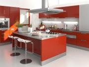 Klassische L-Formedelstahlküche mit großer Kücheninsel