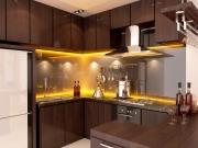 Dunkle G-Form Küche aus Echtholz