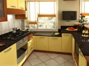klassische u-förmige Einbauküche mit gelben Farbakzenten