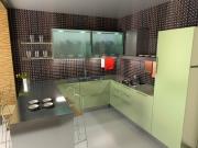 U-förmige Küche mit Edelstahloberfläche und grünen Akzenten