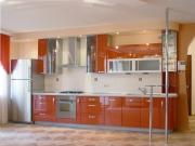 Einzeilige Küche mit Hochglanzfronten