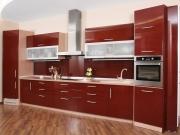 Einzeilige Hochglanzküche in rot