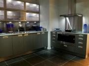 Elegante dunkle Einbauküche