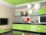 Offene Wohnküche in hellgrün