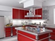 Stilvolle rote Küche mit großer Kücheninsel