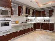 L-Formküche mit Fronten in Holzoptik