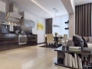 Luxuriöse L-Formküche mit Fronten in Holzoptik