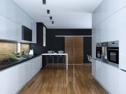 Zweizeilige Küche mit Küchenhalbinsel