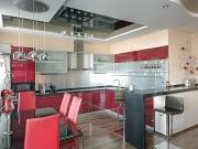 Rote Luxusküche mit Küchenhalbinsel