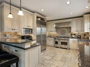 Moderne offne Küche im Landhausstil