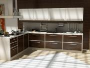 Moderne offene Wohnküche mit Holzoptikfronten