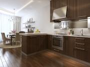 Dunkle offene Wohnküche