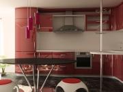 Offene L-Formküche mit Hochglanzfronten in Rot