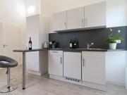Moderne Singleküche mit Küchenhalbinsel