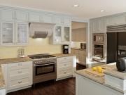 Klassische weiße G-Formküche im Landhausstil
