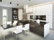 Stilvolle zweizeilige Küche mit Halbinsel und dunklen Fronten