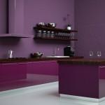 einzeilige Küche violett