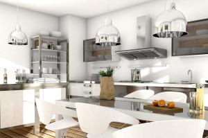 offene Küche mit Edelstahl und Glaselementen